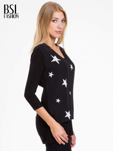 Czarna bluzka z nadrukiem białych gwiazdek                                  zdj.                                  3