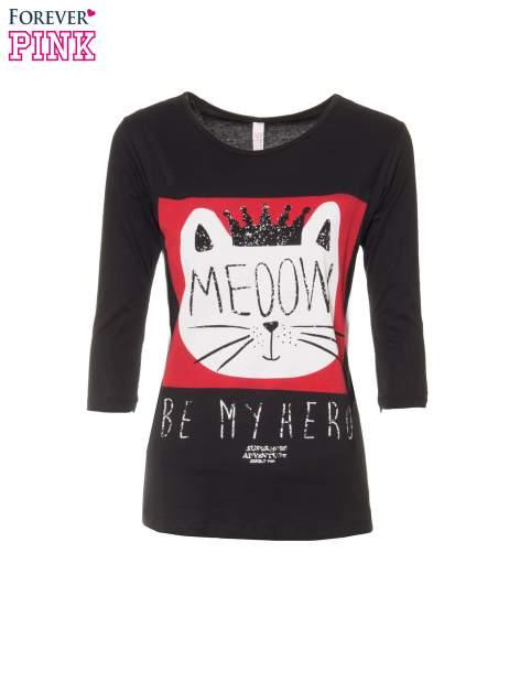 Czarna bluzka z nadrukiem kota z koroną i napisem MEOW                                  zdj.                                  5