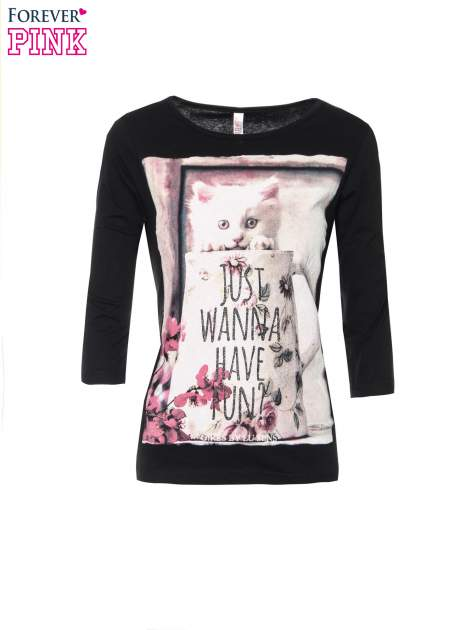Czarna bluzka z nadrukiem kotka i napisem JUST WANNA HAVE FUN?                                  zdj.                                  5