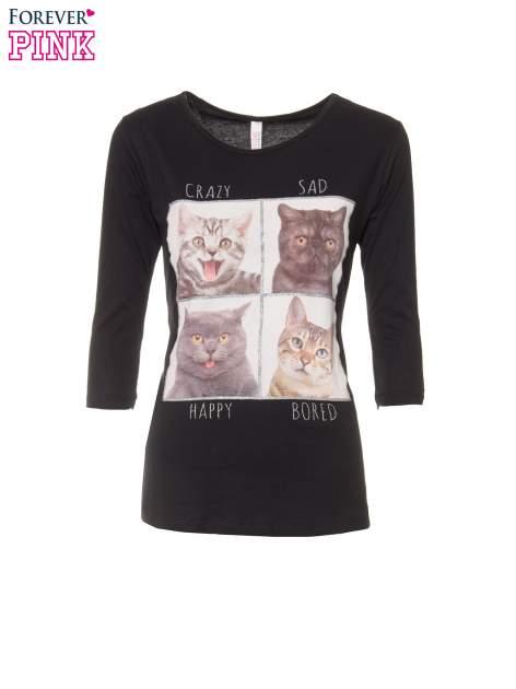 Czarna bluzka z nadrukiem kotów                                  zdj.                                  2
