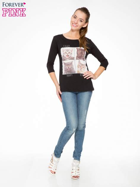 Czarna bluzka z nadrukiem kotów                                  zdj.                                  5