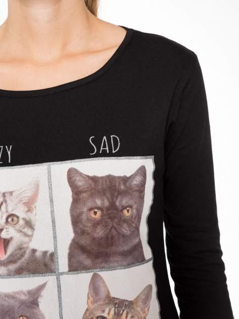 Czarna bluzka z nadrukiem kotów                                  zdj.                                  6
