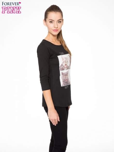 Czarna bluzka z nadrukiem kotów                                  zdj.                                  3