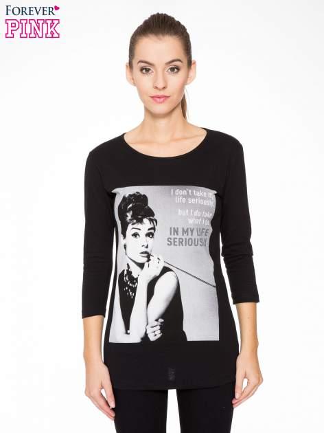 Czarna bluzka z portretem Audrey Hepburn                                  zdj.                                  1