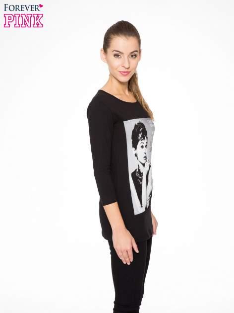 Czarna bluzka z portretem Audrey Hepburn                                  zdj.                                  3