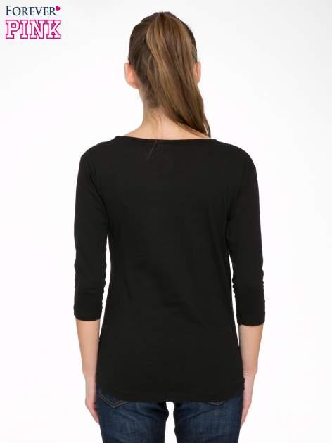 Czarna bluzka z złotym brokatowym napisem MEMORIES                                  zdj.                                  4