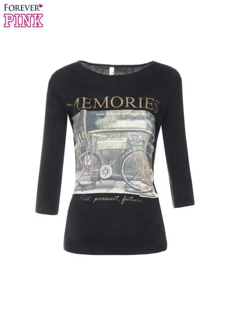 Czarna bluzka z złotym brokatowym napisem MEMORIES                                  zdj.                                  5