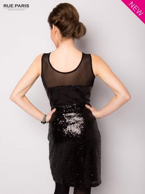 Czarna cekinowa sukienka z transparentną górą                                  zdj.                                  4