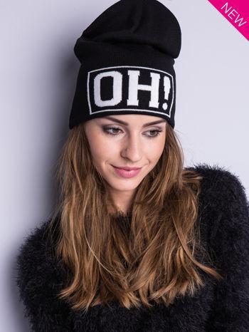 Czarna czapka beanie z napisem OH                                  zdj.                                  4