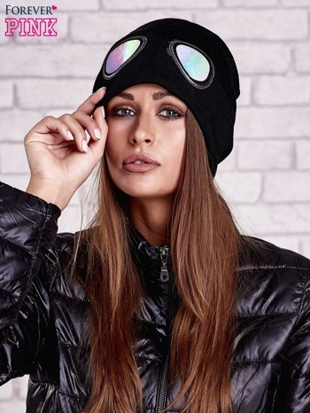 Czarna czapka z nadrukiem okularów aviator
