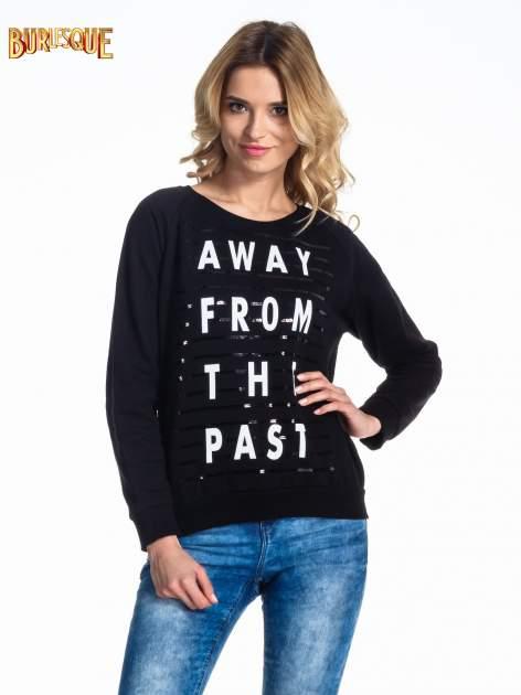 Czarna damska bluza z napisem AWAY FROM THE PAST                                  zdj.                                  1