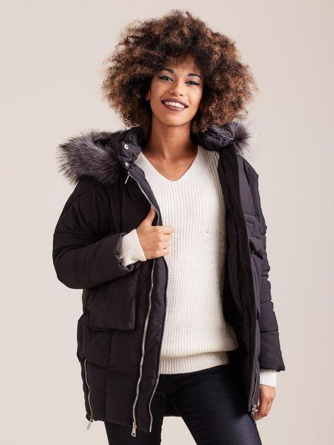 Czarna damska kurtka zimowa                              zdj.                              9