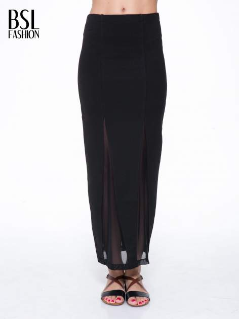 Czarna długa spódnica maxi z tiulowymi wstawkami na dole                                  zdj.                                  1