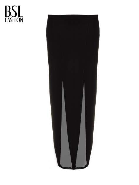 Czarna długa spódnica maxi z tiulowymi wstawkami na dole                                  zdj.                                  5