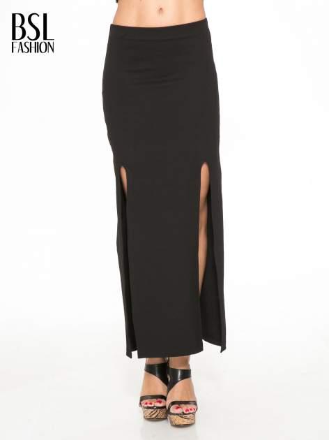 Czarna długa spódnica z rozporkami z przodu                                  zdj.                                  1