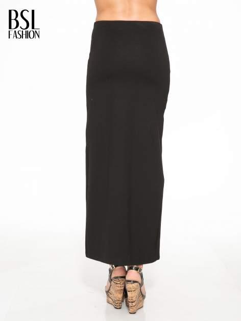 Czarna długa spódnica z rozporkami z przodu                                  zdj.                                  4