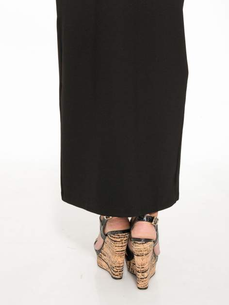Czarna długa spódnica z rozporkami z przodu                                  zdj.                                  7