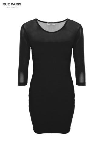 Czarna dopasowana sukienka pokryta na górze siateczką                                  zdj.                                  1