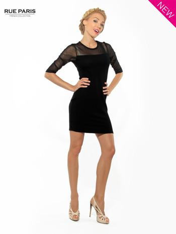 Czarna dopasowana sukienka pokryta na górze siateczką                                  zdj.                                  3