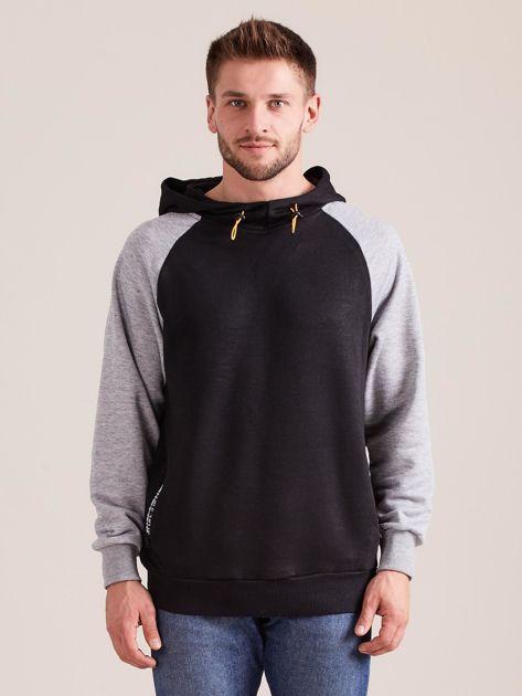 Czarna dresowa bluza męska z kapturem                              zdj.                              1
