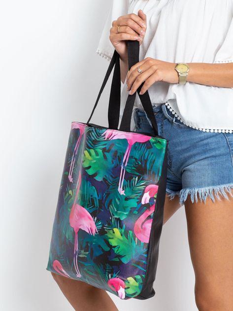 Czarna duża torba z flamingiem                              zdj.                              3