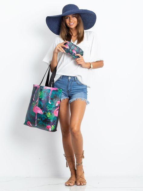 Czarna duża torba z flamingiem                              zdj.                              8
