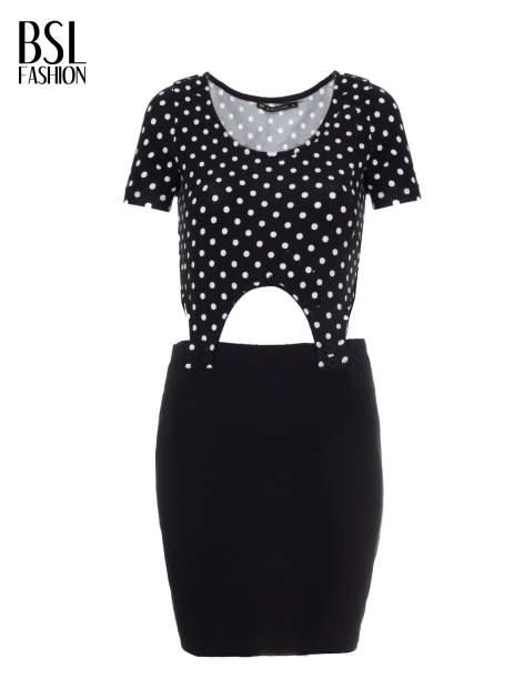 Czarna dwuczęściowa sukienka z odpinanym topem w groszki                                  zdj.                                  5