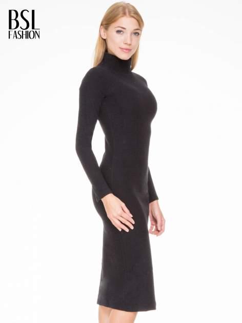 Czarna dzianinowa sukienka tuba z golfem                                  zdj.                                  3