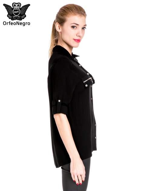 Czarna elegancka koszula z suwakami i napami                                  zdj.                                  5