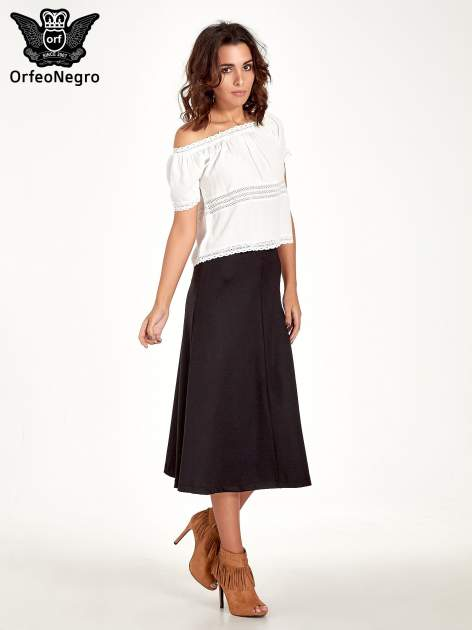 Czarna elegancka spódnica midi o rozkloszowanym kroju                                  zdj.                                  7