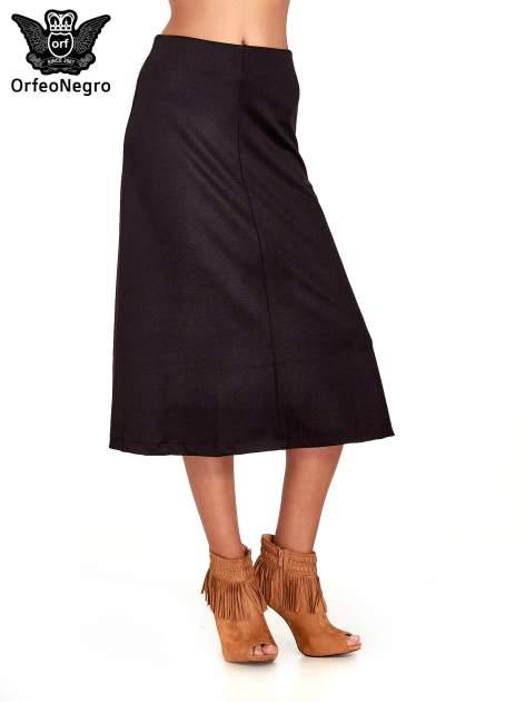 Czarna elegancka spódnica midi o rozkloszowanym kroju                                  zdj.                                  1