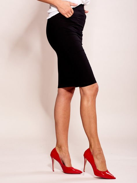 Czarna elegancka spódnica ołówkowa z kieszeniami                              zdj.                              3
