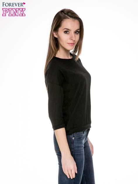Czarna gładka bluzka z luźnymi rękawami 3/4                                  zdj.                                  3