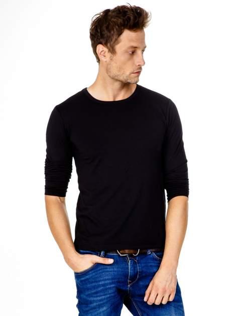 Czarna gładka koszulka męska longsleeve                                  zdj.                                  2