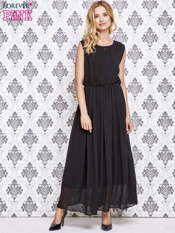 Czarna grecka sukienka maxi z koronką z tyłu                                  zdj.                                  2