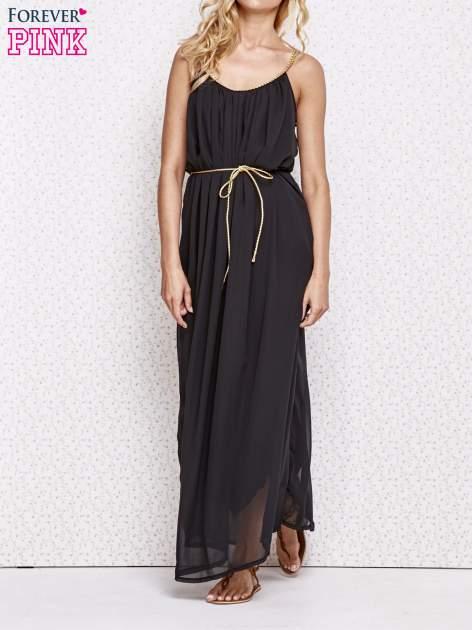 Czarna grecka sukienka maxi ze złotym paskiem                                  zdj.                                  1