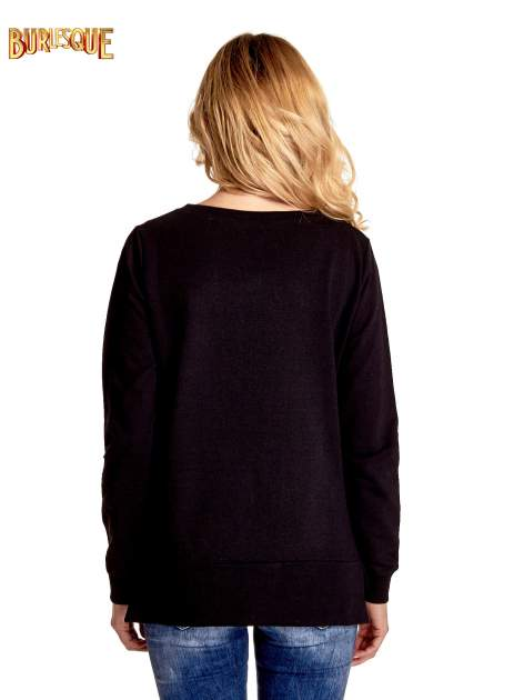 Czarna klasyczna bluza damska z napisem AVENUE MONTAIGNE                                  zdj.                                  5
