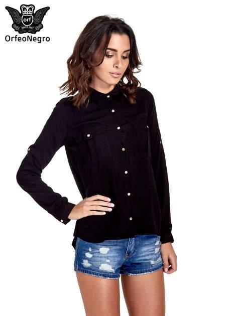 Czarna klasyczna koszula z kieszonkami po bokach                                  zdj.                                  1
