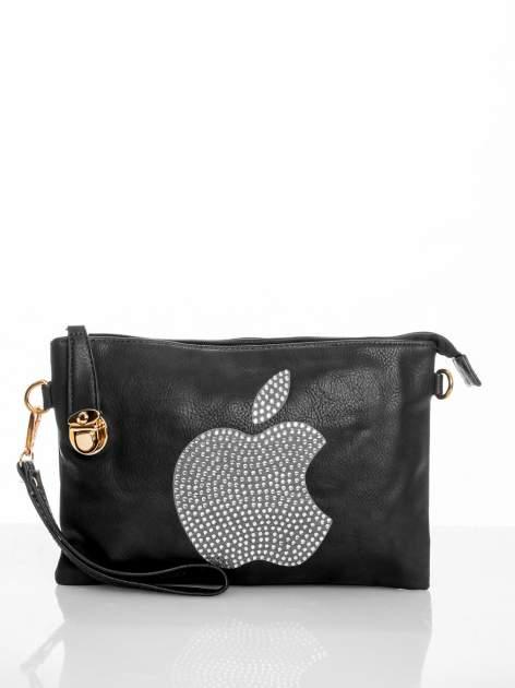 Czarna kopertówka z dżetami motyw apple                                  zdj.                                  1