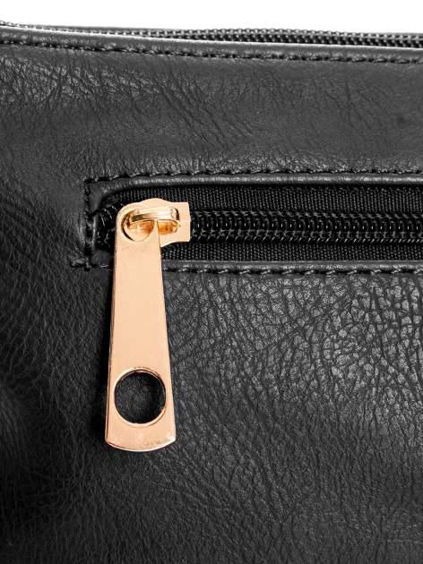 Czarna kopertówka z dżetami motyw wąsów                                  zdj.                                  5