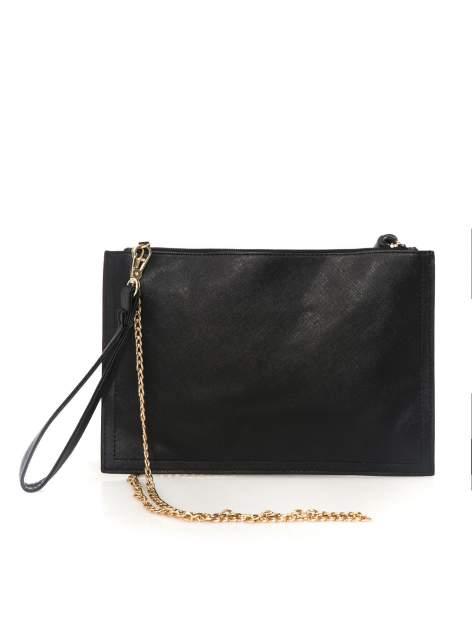 Czarna kopertówka z nadrukiem Audrey Hepburn, frędzlami i złotym łańcuszkiem                                  zdj.                                  3