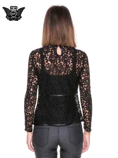 Czarna koronkowa bluzka z baskinką                                  zdj.                                  4