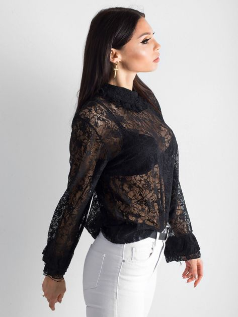 Czarna koronkowa bluzka ze stójką                              zdj.                              5