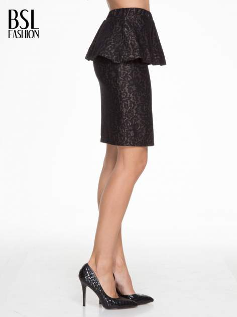 Czarna koronkowa mini spódnica z baskinką                                  zdj.                                  3