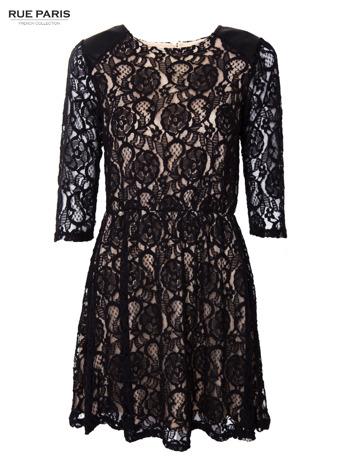 Czarna koronkowa sukienka z rękawem 3/4                                  zdj.                                  1