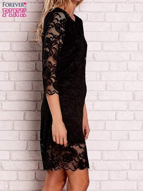 Czarna koronkowa sukienka z wiązaniem na plecach                                  zdj.                                  3