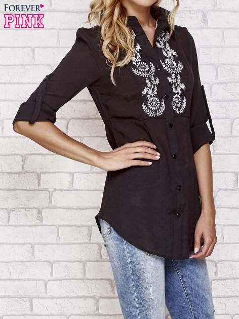 Czarna koszula hippie z haftem                                  zdj.                                  3