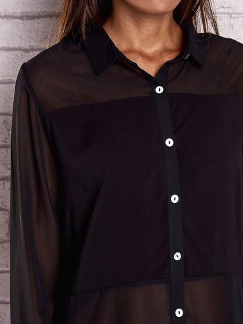 Czarna koszula mgiełka z dłuższym tyłem                                  zdj.                                  5