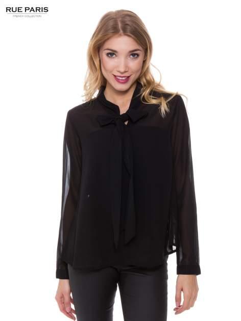 Czarna koszula mgiełka z kokardą