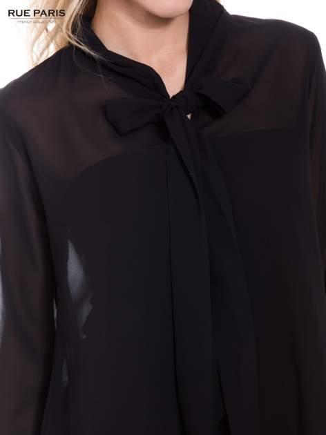 Czarna koszula mgiełka z kokardą                                  zdj.                                  2